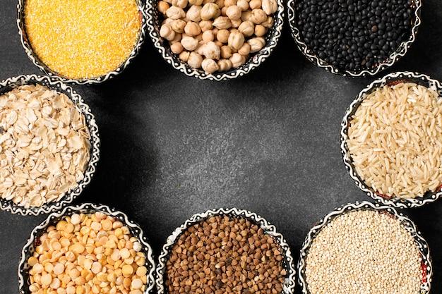 Selectie van diverse kleurrijke graangewassenclose-up