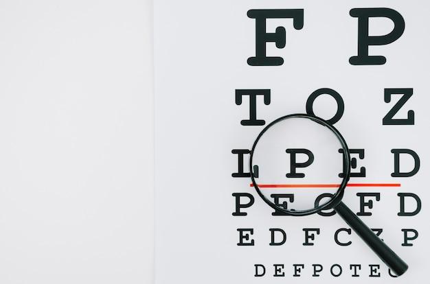 Selectie van letters onder vergrootglas