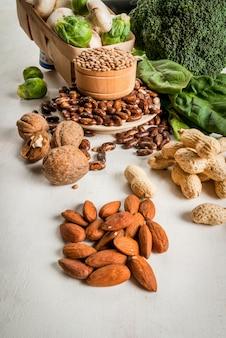 Selectie van producten met een hoog gehalte aan plantaardige eiwitten
