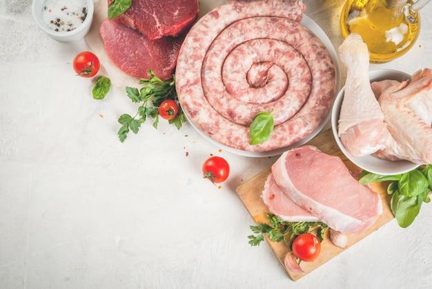Selectie van rauw vlees