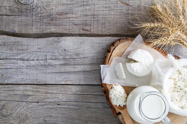 Selectie van zuivelproducten en tarwe