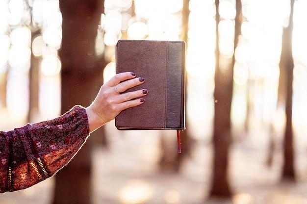 Selectieve aandacht die van een vrouwelijke hand is ontsproten die een dagboek houdt