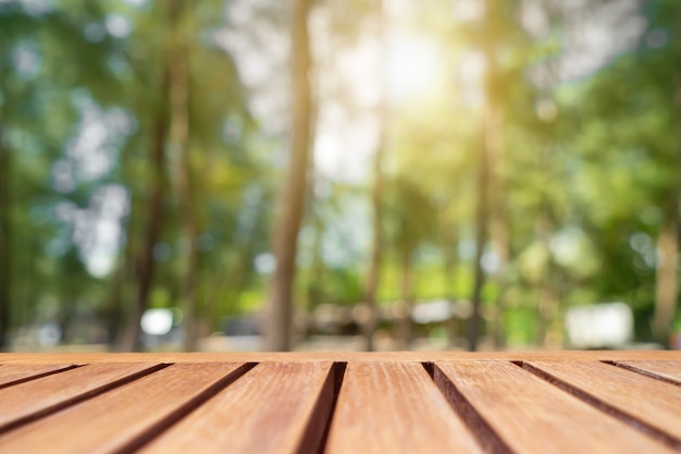 Selectieve aandacht van leeg oud hout op vervagen natuur park met bokeh achtergrond vervagen.