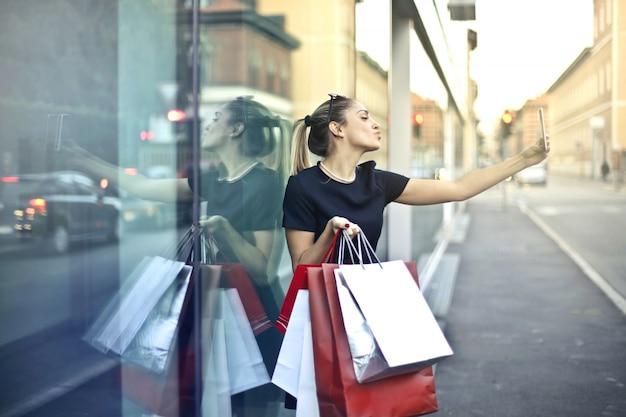 Selfie tijdens een shopping-tour