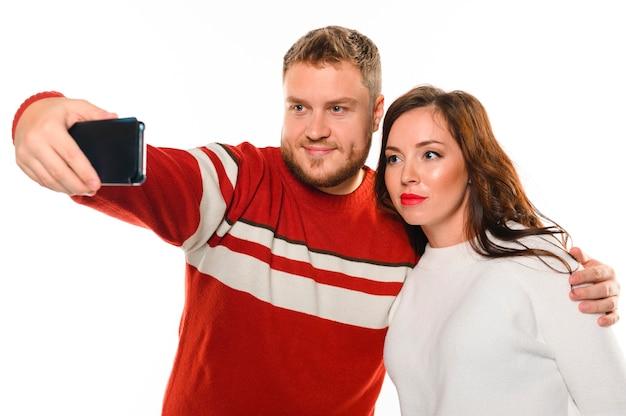 Selfie van kerst gelukkige modellen