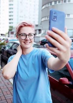 Selfie-zelfportretfoto's maken op smartphone