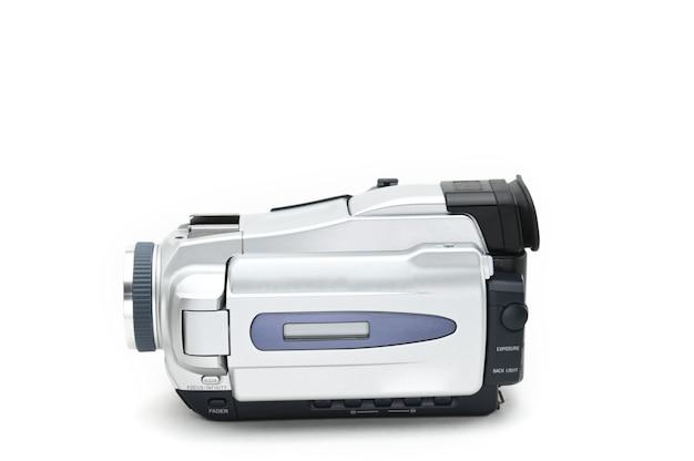 Semiprofessionele videocamcorder die wordt gebruikt voor het opnemen van geïsoleerde videoclips