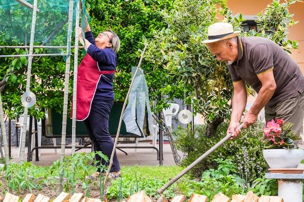 Senior kaukasisch koppel werkt thuis op de jardin om ingrediënten voor rauw voedsel en groenten te maken en zorgt voor hun naurale en gezonde levensstijl, diong eten van zichzelf buitenshuis activiteit vrije tijd
