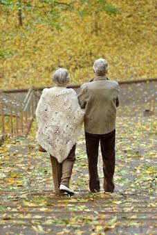 Senior koppel maakt een wandeling in het herfstbos