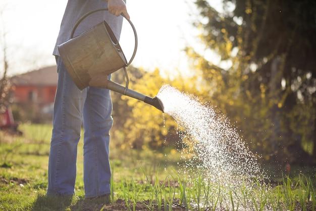 Senior man zijn enorme tuin drenken door kan tijdens de lente