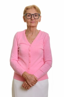 Senior nerd vrouw draagt geeky bril