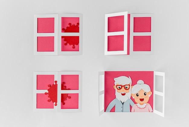 Senior paar bij het raam omgeven door virussen