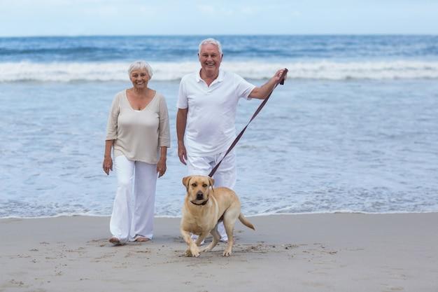 Senior paar wandelen op het strand met hond