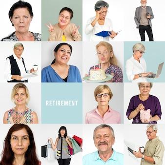 Senior volwassen genieten van pensioen leven studio portret collage