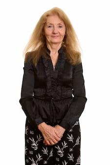 Senior zakenvrouw in zwarte kleding