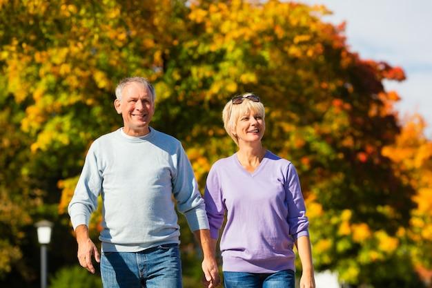 Senioren in de herfst of herfst lopen hand in hand