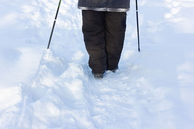 Seniour wandelen in winterpark