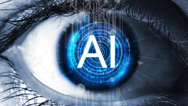 Sensor geïmplanteerd in menselijk oog. kunstmatige intelligentie (ai) concept.