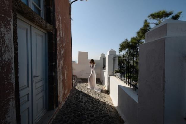 Sensuele vrouw met lang haar op straat