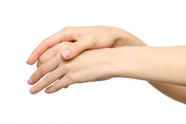 Sensuele vrouwelijke handen elkaar wrijven
