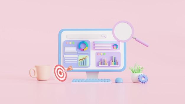 Seo optimalisatie web, analytics en zoeken en richten, seo-marketingconcepten, 3d-illustraties.