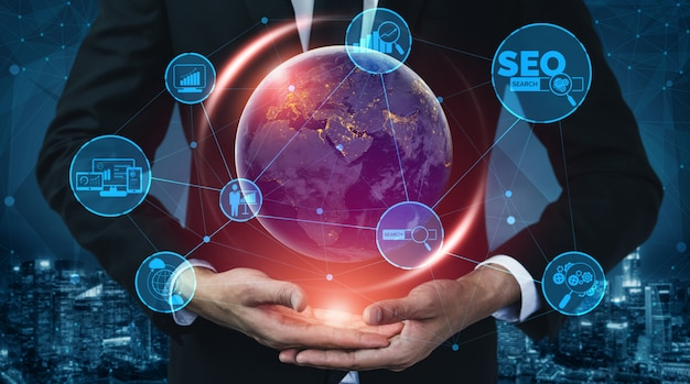 Seo search engine optimization bedrijfsconcept