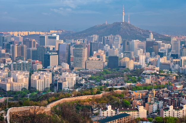 Seoul skyline op zonsondergang, zuid-korea.