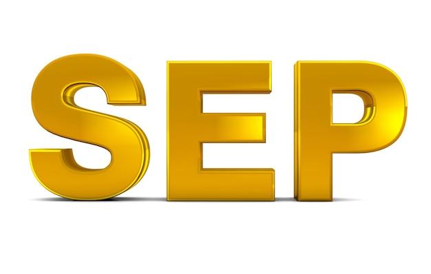 Sep gold 3d-tekst september maand afkorting geïsoleerd op witte achtergrond 3d render.