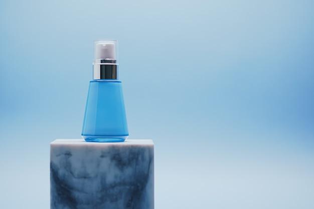 Serumfles op blauwe achtergrond luxe huidverzorgingsproducten schoonheid en cosmetica