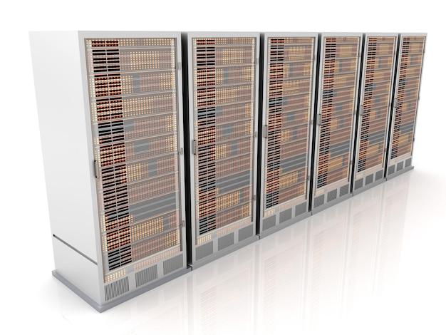 Serverracks op een rij. 3d-afbeelding.