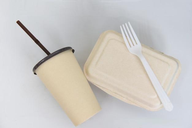 Service eten bestellen online levering voedseldoos, voedsel afhaalmaaltijden wegwerp eco-vriendelijke voedselverpakking