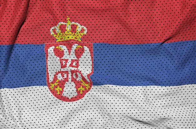 Servië vlag gedrukt op een polyester nylon gaas