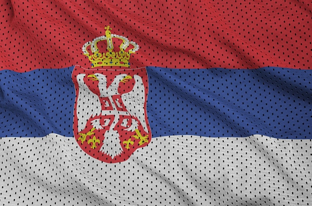 Servië vlag gedrukt op een polyester nylon sportkleding mesh stof