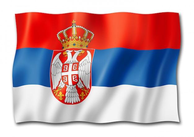 Servische vlag die op wit wordt geïsoleerd