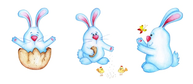 Set aquarel illustraties van blauwe paashazen. schattige cartoon tekening van hazen voor kinderen. pasen, tradities, religie. geïsoleerd op witte achtergrond. met de hand getekend.