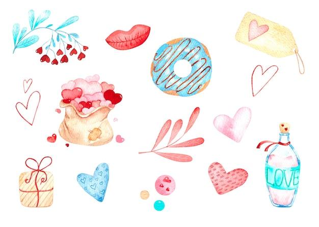 Set aquarel illustraties voor valentijnsdag, donut, harten, envelop, taarten, liefde, zak met harten