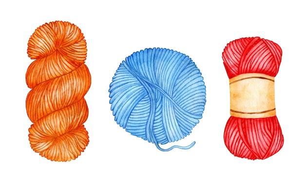 Set aquarelillustraties van blauw rood oranje strengen de wol is opgerold tot een bal