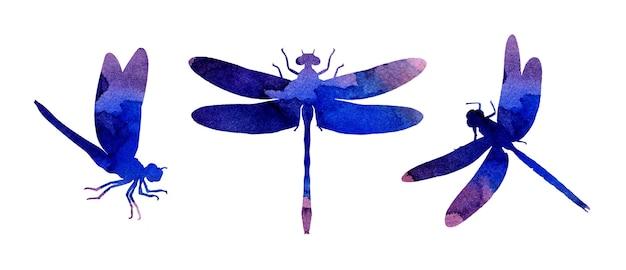 Set aquarelillustraties van lila abstracte libellen met verfstrepen leuke grappige print