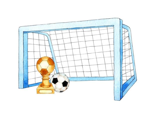 Set aquarelillustraties van voetbaldoelbal en beker sportuitrusting barbell