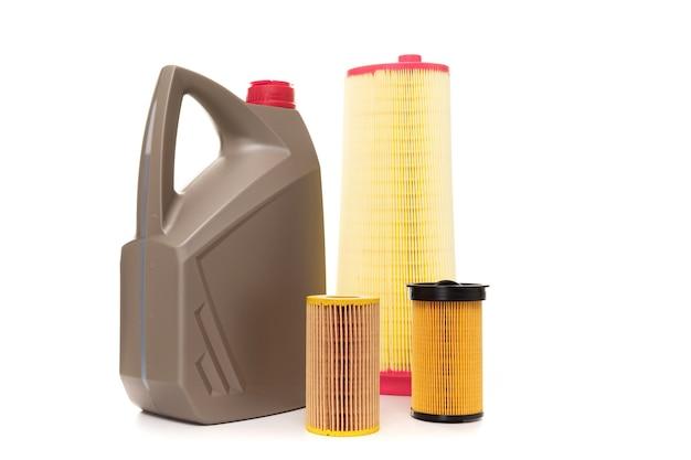 Set filters en motorolie, vervanging bij de dealer in de cabine voor een nieuwe auto