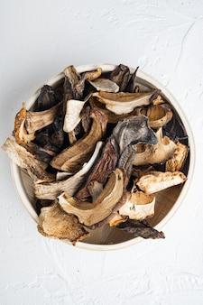 Set gedroogde paddenstoelen, op wit