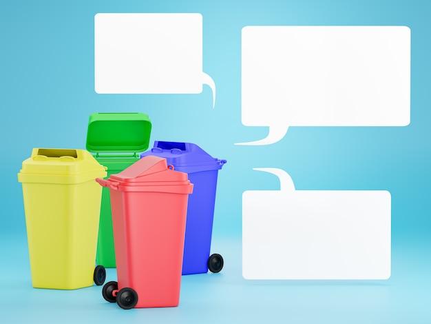 Set gekleurde bakken om elk type afval te scheiden voor eenvoudiger recycling.