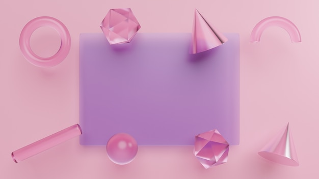 Set geometrische vormen, realistische primitieven 3d-rendering