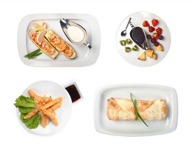 Set gerechten geïsoleerd op een witte achtergrond