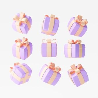 Set geschenkdozen op geïsoleerde witte achtergrond, decoratiecadeaus, verrassingsdoos. 3d render illustratie