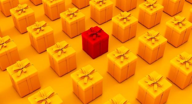 Set geschenken doos. verras dozen. viering decoratie objecten. isometrische kleurrijke vierkante geschenkdoos set.