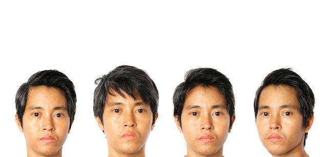 Set gezicht jonge aziatische man op witte achtergrond.