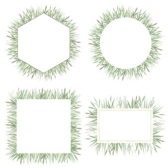 Set groen aquarel frames met groene bladeren