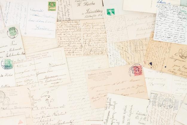 Set handgeschreven antieke brieven oude vintage achtergrond