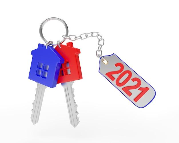 Set heldere sleutels met nummer 2021 aan een sleutelhanger